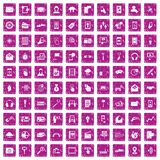 100 mobile icons set grunge pink. 100 mobile icons set in grunge style pink color isolated on white background vector illustration Royalty Free Illustration