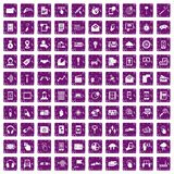 100 mobile icons set grunge purple. 100 mobile icons set in grunge style purple color isolated on white background vector illustration Stock Photography