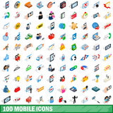 100 mobile icons set, isometric 3d style Royalty Free Stock Image
