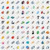 100 mobile icons set, isometric 3d style. 100 mobile icons set in isometric 3d style for any design vector illustration Royalty Free Stock Photos