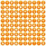 100 mobile icons set orange. 100 mobile icons set in orange circle isolated on white vector illustration royalty free illustration