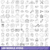 100 mobile icons set, outline style. 100 mobile icons set in outline style for any design vector illustration Stock Photos