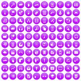 100 mobile icons set purple. 100 mobile icons set in purple circle isolated on white vector illustration vector illustration