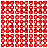 100 mobile icons set red. 100 mobile icons set in red circle isolated on white vector illustration Stock Image