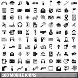 100 mobile icons set, simple style. 100 mobile icons set in simple style for any design vector illustration Royalty Free Stock Photo