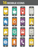 16 Mobile icons. On white background stock illustration