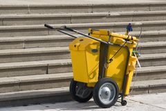 Mobile Industrial Clean Up Cart Stock Photos