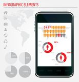 Mobile infographics. Set of graphs and chats Stock Images