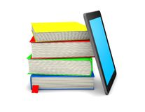 Mobile information concept with books and mobile device. Stock Image