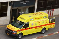 Mobile Intensive Care Unit ambulance arrived at trauma section. PETAH TIKVA, ISRAEL - FEBRUARY 2016: Mobile Intensive Care Unit ambulance arrived at trauma stock photography