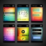 Mobile interface elements with colorful wallpaper Royalty Free Stock Photography