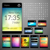 Mobile interface elements with colorful wallpaper stock illustration