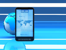Mobile internet - cell phone and globe. On blue background Royalty Free Stock Photos
