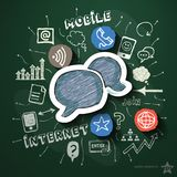 Mobile internet collage with icons on blackboard Stock Images