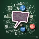 Mobile internet collage with icons on blackboard Stock Image