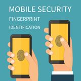 Mobile Internet Secutiry, fingerprint. Identification, internet security concept. Flat design vector Stock Image