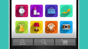 Mobile and internet shopping concept animation, using smart phone.