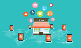 Mobile internet shopping on line vector background Royalty Free Stock Photo