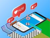 Mobile internet surfing dive into the www web concept. Flat 3d isometric isometry web vector illustration. Man springboard trampol stock illustration