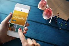 Mobile Internet Surfing Summer Website Concept Stock Image