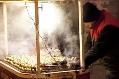 Mobile kestane (chestnuts) stall in taksim square istanbul turkey Stock Photo