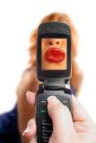 Mobile kiss Stock Photography