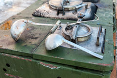 Mobile kitchen stove to feed soldiers Stock Photos