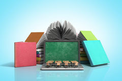 Mobile knowledge school or college education business office work and electronic media concept laptop or notebook with stack of b. Ooks isolated on blue stock illustration
