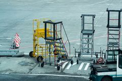 Mobile ladders at the airport. Summer royalty free stock photo
