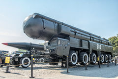Mobile launcher of the strategic missile system Stock Photos