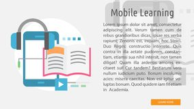 Mobile Learning Conceptual Banner Stock Vector - Illustration of