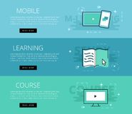 Mobile Learning Course. Vector banners template set. Flat design electronic education banners template set. Education concept for web and app design Stock Photo