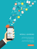 Mobile learning. Flat modern design vector illustration concept of online education, e-learning with mobile phone in the hand, icons and hand drawn symbols. eps stock illustration