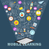 Mobile learning with tablet Royalty Free Stock Image