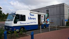 Mobile library. Library visit to bingham Nottinghamshire Stock Photo
