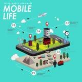 Mobile life flat design Stock Photos