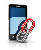Mobile link. Abstract 3d illustration of mobile phone and link Royalty Free Stock Image