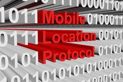 Mobile Location Protocol. In the form of binary code, 3D illustration Stock Photo