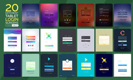 Mobile Login Screens for Smartphones and Tablets. 20 different Tablet Sign In, Login and Sign Up Screens for Smartphone and Tablet. Creative Material Design, UI Vector Illustration