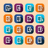 Mobile long shadow icons Royalty Free Stock Images