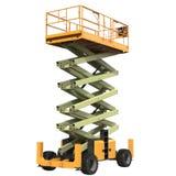 Mobile Luftarbeitplattform - Gelb scissor hydraulischen selbstfahrenden Aufzug auf einem Weiß Abbildung 3D Lizenzfreies Stockbild