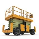 Mobile Luftarbeitplattform - Gelb scissor hydraulischen selbstfahrenden Aufzug auf einem Weiß Abbildung 3D Lizenzfreie Stockfotos