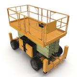 Mobile Luftarbeitplattform - Gelb scissor hydraulischen selbstfahrenden Aufzug auf einem Weiß Abbildung 3D Stockfotografie