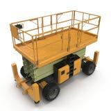 Mobile Luftarbeitplattform - Gelb scissor hydraulischen selbstfahrenden Aufzug auf einem Weiß Abbildung 3D Stockfotos