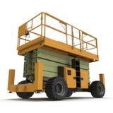 Mobile Luftarbeitplattform - Gelb scissor hydraulischen selbstfahrenden Aufzug auf einem Weiß Abbildung 3D Lizenzfreie Stockbilder