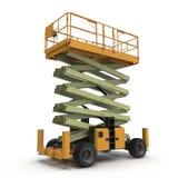 Mobile Luftarbeitplattform - Gelb scissor hydraulischen selbstfahrenden Aufzug auf einem Weiß Abbildung 3D Lizenzfreies Stockfoto
