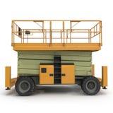 Mobile Luftarbeitplattform - Gelb scissor hydraulischen selbstfahrenden Aufzug auf einem Weiß Weicher Fokus Abbildung 3D Stockfotos