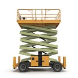 Mobile Luftarbeitplattform - Gelb scissor hydraulischen selbstfahrenden Aufzug auf einem Weiß Weicher Fokus Abbildung 3D Lizenzfreie Stockbilder