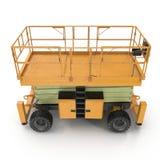 Mobile Luftarbeitplattform - Gelb scissor hydraulischen selbstfahrenden Aufzug auf einem Weiß Weicher Fokus Abbildung 3D Lizenzfreie Stockfotografie