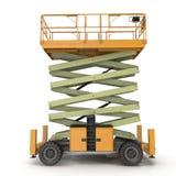 Mobile Luftarbeitplattform - Gelb scissor hydraulischen selbstfahrenden Aufzug auf einem Weiß Weicher Fokus Abbildung 3D Lizenzfreies Stockfoto